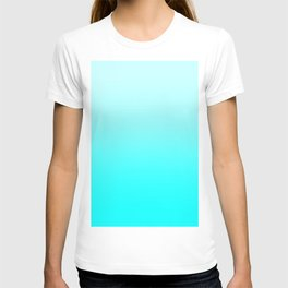 Pastel Cyan to Cyan Horizontal Linear Gradient T-shirt