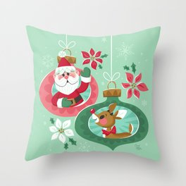 Merry Christmas from Santa & Rudolph Throw Pillow