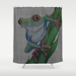 Red-Eyed Tree Frog 2.0 by Lars Furtwaengler   Digital Interpretation   2013 Shower Curtain