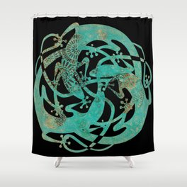 Lizards Mandala - Turquoise gold Shower Curtain