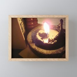 Black Candle Light Scene at a Table Framed Mini Art Print