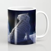 tigers Mugs featuring Moon Tigers by Chiakiro