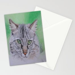 Striped cat Stationery Cards