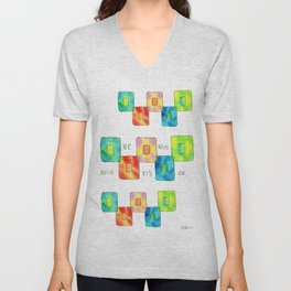 BE YOU AND IT'S OK square pattern inspirational quote abstract painting colorful illustration Unisex V-Neck