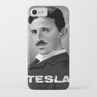 tesla iPhone & iPod Cases featuring Nikola Tesla by San Fernandez