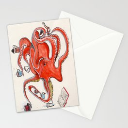Olive the Octopus Barista Stationery Cards