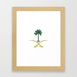 ksa logo saudi arabia logo private sticker shirt iphone case السعودية سيفين ونخلة خاص كفر ايفون جديد Framed Art Print