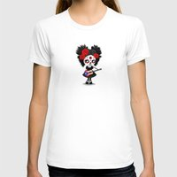 puerto rico T-shirts featuring Day of the Dead Girl Playing Puerto Rican Flag Guitar by Jeff Bartels