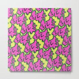 Stay Graffiti Pattern - Pop Pink Metal Print