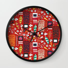 tiki red Wall Clock
