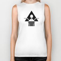 triangle Biker Tanks featuring triangle by r1ie