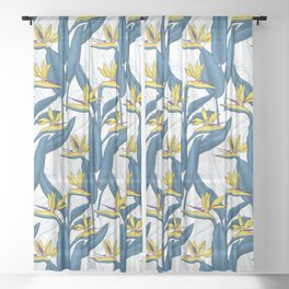 Bird of paradise flowers on white Sheer Curtain