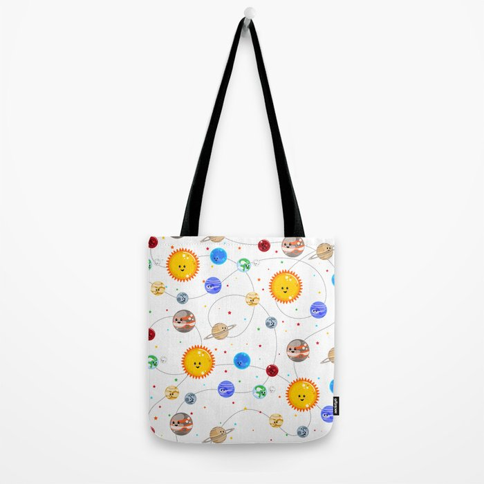 Kawaii Solar System Pattern Tote Bag
