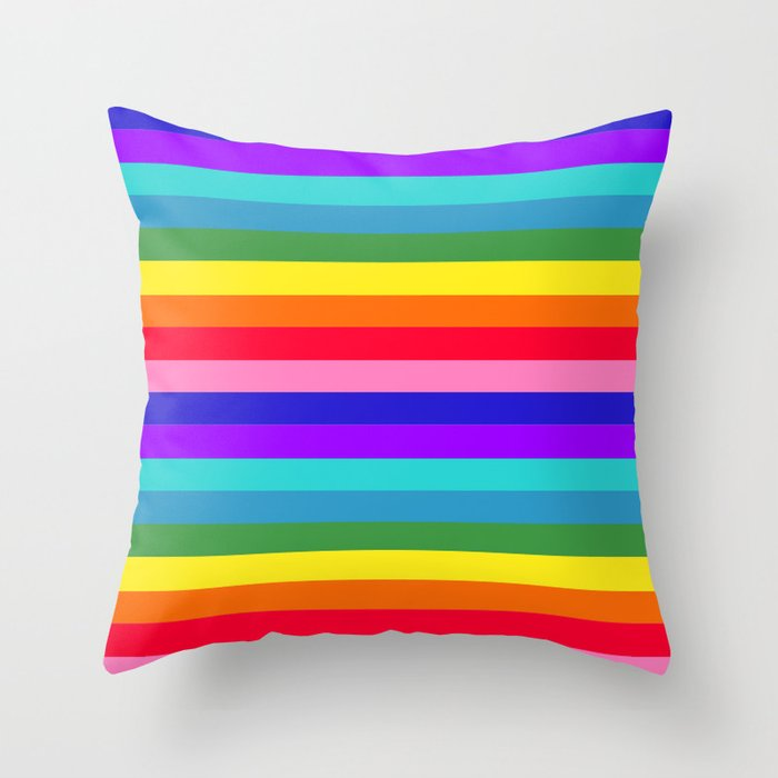 Stripes of Rainbow Colors Throw Pillow