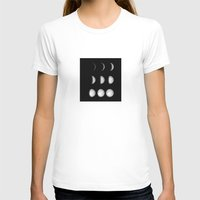 moon phases T-shirts featuring Moon Phases on Black by Kate & Co.
