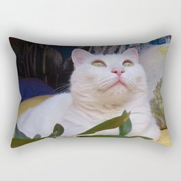 Tyche the white cat of peace Rectangular Pillow