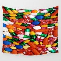 pills Wall Tapestries featuring PILLS,PILLS,PILLS by Asano Kitamura