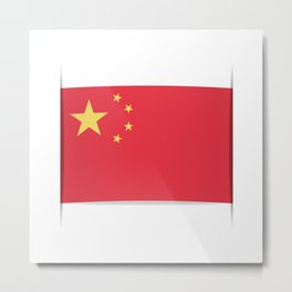 Flag of China. The slit in the paper with shadows. Metal Print
