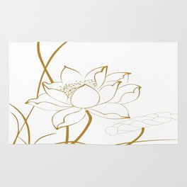 Lotus line drawings Rug