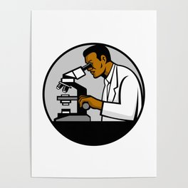 African American Research Scientist Mascot Poster