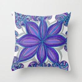 Bloom in Aqua & Purple Throw Pillow