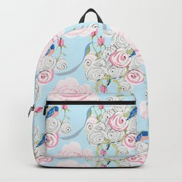 Shabby Chic Bluebirds and Watercolor Roses on pale blue Backpack
