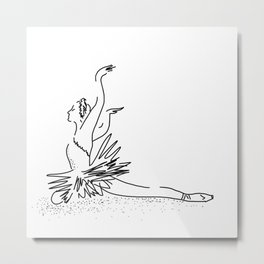 WHITE Swan Dance Metal Print