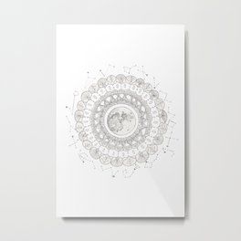 Mandala with Full Moon and Constellations Illustration Metal Print