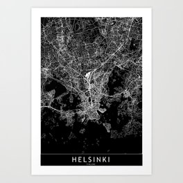 Helsinki Black Map Art Print
