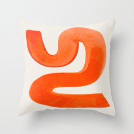 Mid Century Modern Abstract Minimalist Abstract Vintage Retro Orange Watercolor Brush Strokes Throw Pillow
