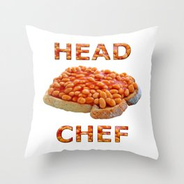 Head Chef Beans on Toast Throw Pillow