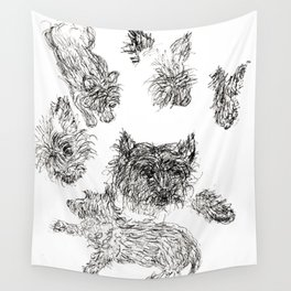 Scottish Terrier - Line Drawing Wall Tapestry