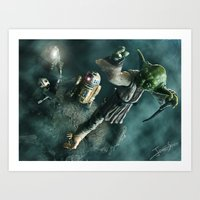 Art Print featuring Yoda - Training on Dagobah by jcalum2012