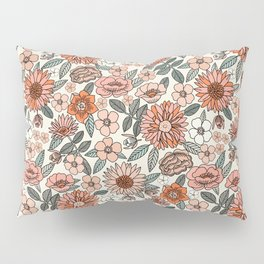 70s flowers - 70s, retro, spring, floral, florals, floral pattern, retro flowers, boho, hippie, earthy, muted Pillow Sham