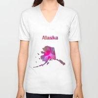 alaska V-neck T-shirts featuring Alaska Map by Roger Wedegis