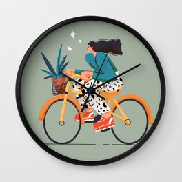 girl on bicycle for  rider Wall Clock