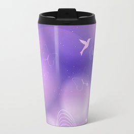 floral background with flowers, leaves, bird and branches of blooming tree. Stylized garden in tints Travel Mug