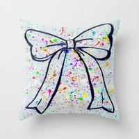 bow Throw Pillows featuring Bow by T. Tamaiiya