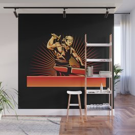 blacksmith worker with sledgehammer Wall Mural
