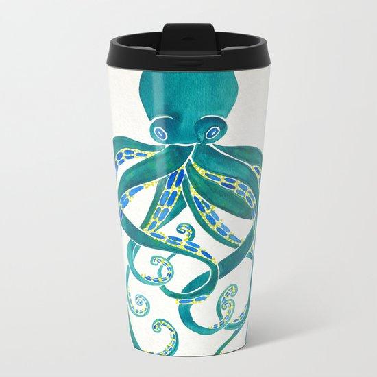 Octopus Watercolor Metal Travel Mug