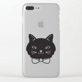 Dapper Black Kitty Cat Clear iPhone Case