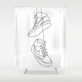 Sneakers simple minimal one line art, hanging shoes branded shoes  Shower Curtain