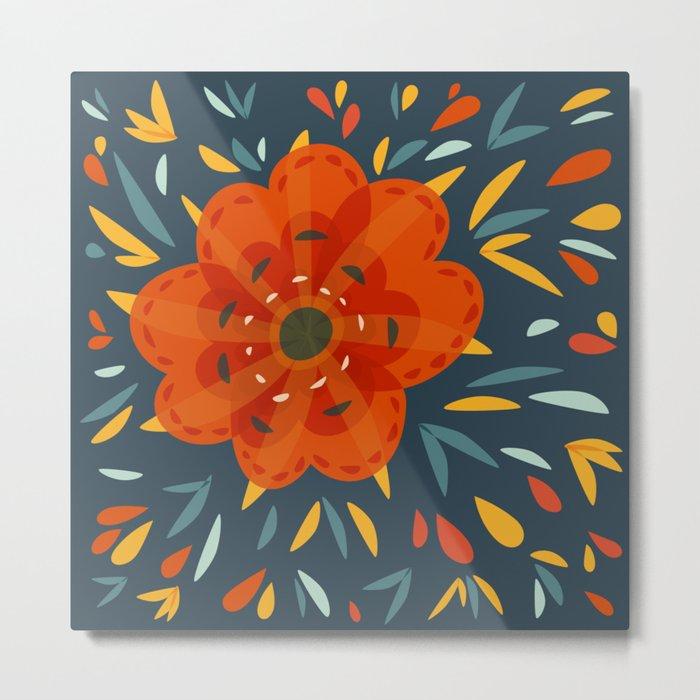 Decorative Whimsical Orange Flower Metal Print