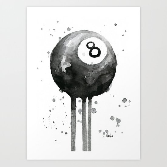 8-Ball Watercolor Black Pool Billiards Eight Ball Art Art Print