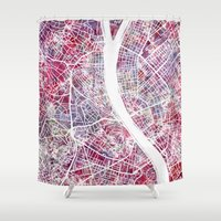 budapest Shower Curtains featuring Budapest map by MapMapMaps.Watercolors