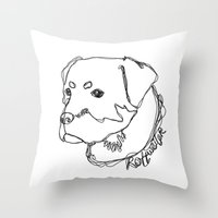 rottweiler Throw Pillows featuring Rottweiler #1 by Just Like A Breeze