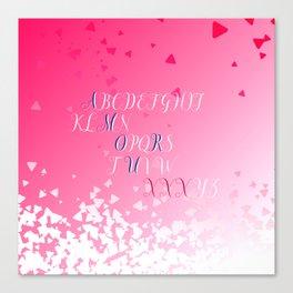 Amour Alphabet Love Rose Pink Glitter Design Canvas Print