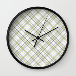 Diagonal tartan gray and yellow over white Wall Clock