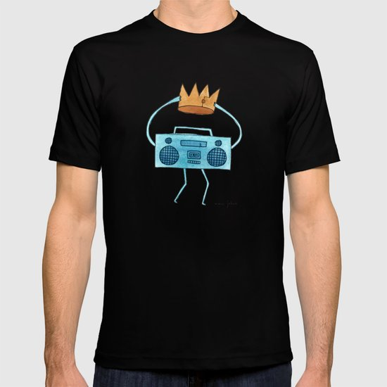 boombox holding a paper crown T-shirt