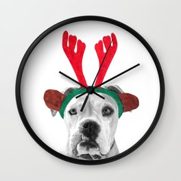 Black and White Boxer Christmas Wall Clock